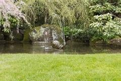De Fontein van het water in de Vijver van de Tuin Royalty-vrije Stock Foto
