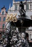 De Fontein van Neptunus in Gdansk Stock Afbeeldingen