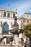 De Fontein van Neptunus in Gdansk, Polen Stock Afbeeldingen