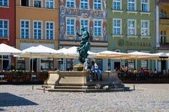 De fontein van Neptunus in het Oude Marktvierkant poznan Stock Afbeeldingen