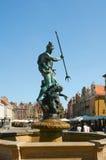 De fontein van Neptunus in het Oude Marktvierkant poznan Royalty-vrije Stock Afbeeldingen