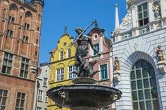 De Fontein van Neptunus in de Lange Markt Gdansk, Polen Royalty-vrije Stock Foto