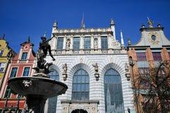 De fontein van Neptunus op Dluga straat Gdansk Stock Foto's
