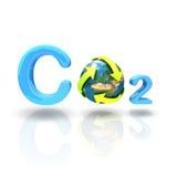 De formule van Co2 met kringloopbol op witte achtergrond Stock Afbeelding