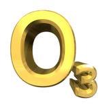 De formules van de chemie in goud van ozon royalty-vrije stock afbeeldingen
