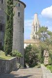 De forntida slottarna av staden av Girona (Spanien) Royaltyfria Bilder