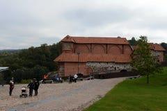 De fortleva byggnaderna av övreVilnaen rockerar 1419 i Vilnius 1905 arkitektoniska byggandemonument Arkivfoton