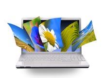 De foto's van de aard op laptop Stock Afbeeldingen
