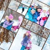De foto's van de familiewinter stock foto