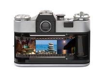 De foto's van de reis in retro camera stock fotografie