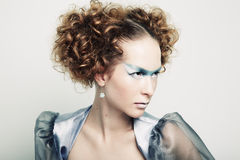 De foto van de manier van een jonge mooie redhead vrouw royalty-vrije stock fotografie