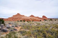 De Foto van de voorraad van de Rode Vorming van de Rots, het Nationale Park van Bogen Stock Afbeeldingen