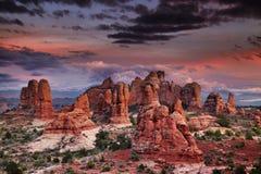 De Foto van de voorraad van de Rode Vorming van de Rots, het Nationale Park van Bogen Stock Fotografie
