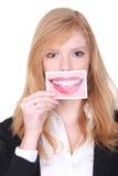 De foto van de vrouwenholding Stock Fotografie