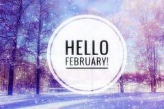 De foto van Hello Februari Het begin van het Nieuwjaar De kaart van de groet royalty-vrije stock afbeeldingen
