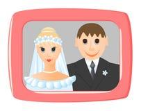 De foto van het huwelijk in frame stock illustratie