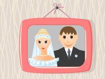 De foto van het huwelijk in frame op   Royalty-vrije Stock Foto