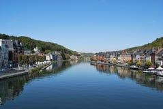 De mening van de rivier, Dinant, België Royalty-vrije Stock Foto's