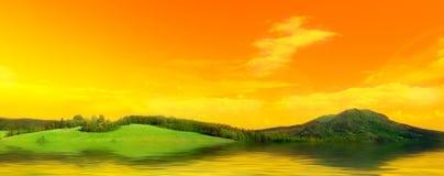 De foto van het panorama van weide vector illustratie