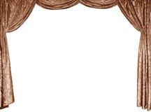 De foto van slimme gordijnen van een gouden fluweel Stock Afbeelding