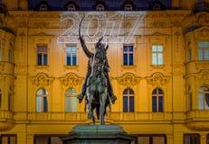 De foto van Zagreb in Komsttijd die wordt geschoten Stock Foto's