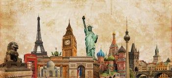 De fotocollage van wereldoriëntatiepunten op uitstekende tessepia geweven achtergrond, reistoerisme en studie rond het wereldconc
