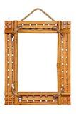 De fotoframe van het bamboe dat op witte achtergrond wordt geïsoleerdr Royalty-vrije Stock Afbeeldingen