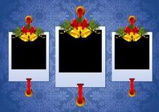 De fotoframe van Kerstmis met klokken Royalty-vrije Stock Foto's