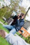 De fotograaf neemt een Schot van een model Royalty-vrije Stock Afbeelding