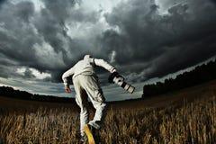 de fotograaf schiet het onweer stock foto