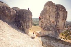 De fotograaf schiet klimmers Stock Foto's