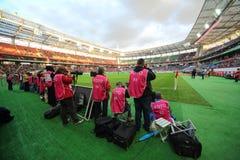 De fotografen schieten het spel Russische team tegen Noord-Ierland Stock Foto