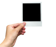 De fotokader van de handholding op geïsoleerd wit met het knippen van weg Stock Foto