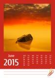 de fotokalender van 2015 juni Stock Afbeeldingen