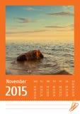 de fotokalender van 2015 november Stock Afbeelding