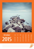 de fotokalender van 2015 oktober Royalty-vrije Stock Foto's
