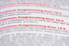 De Fout van de programmering Stock Foto's
