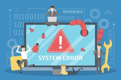 De fout van het systeem Mensen in paniek van computer in werking die worden gesteld die stock illustratie