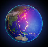 De foutenlijnen van de aarde tussen tectonische platen Stock Afbeeldingen