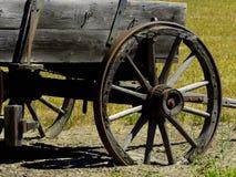 De främre ekerhjulen av av en Prarie skonarevagn Royaltyfri Fotografi