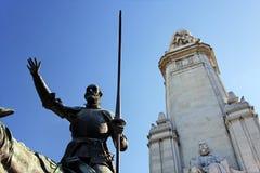 西万提斯・ de fragment米格尔纪念碑 免版税库存照片