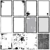 De Frames, de Hoeken, de Achtergrond en de Texturen van Grunge royalty-vrije illustratie