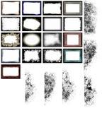 De frames en de randenvector van Grunge Stock Afbeeldingen