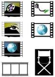 De frames van de film en de stoel van de directeur royalty-vrije illustratie