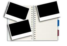 De frames van de foto op blocnote Stock Afbeelding