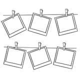 De frames van de foto op kabel Stock Afbeeldingen