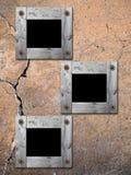 De Frames van de foto op oude muur. Stock Foto