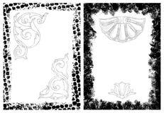 De frames van Grunge en ontwerpelementen Stock Afbeeldingen