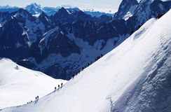 De France vers l'Italie au-dessus de Mont Blanc Photo stock