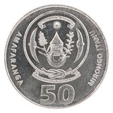 De frankmuntstuk van Rwanda Stock Foto
